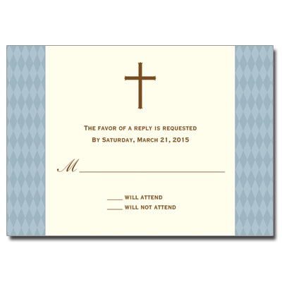 Diamond Blue First Communion Response Card