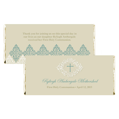 Elegant Sage First Communion Candy Wrapper