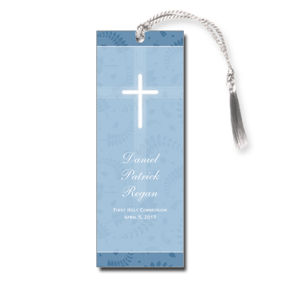 Round Blue Frame First Communion Bookmark