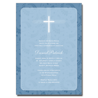 Round Blue Frame First Communion Invitation