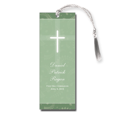 Round Green Frame First Communion Bookmark