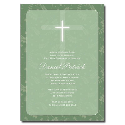 Round Green Frame First Communion Invitation