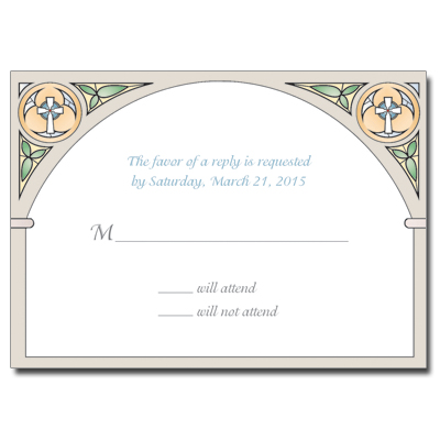 Stained Glass Blue First Communion Response Card