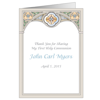 stained glass first communion thank you card blue
