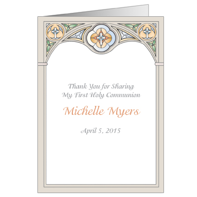 Stained Glass First Communion Thank You Card - Yellow