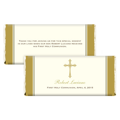 Gold Filigree Cross Candy Wrapper
