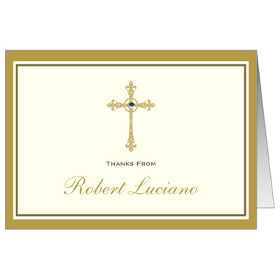 Gold Filigree Jewel Cross Note Card