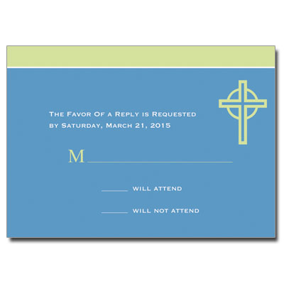 Kiwi Cross Blue First Communion Response Card