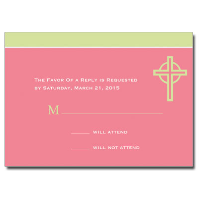 Kiwi Cross Pink First Communion Response Card