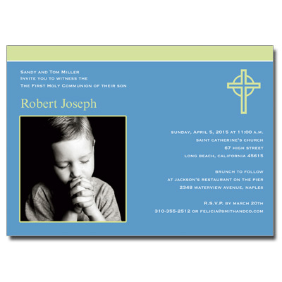 Kiwi Cross Blue First Communion Invitation