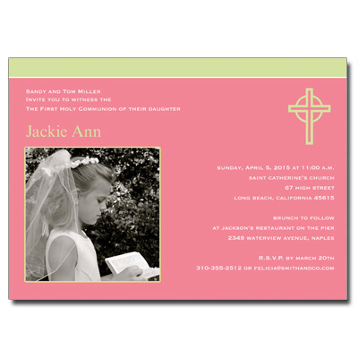 Kiwi Cross Pink First Communion Invitation