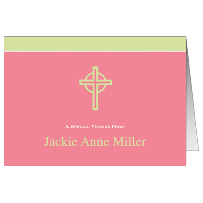 Kiwi Cross First Communion Thank You Card - Pink