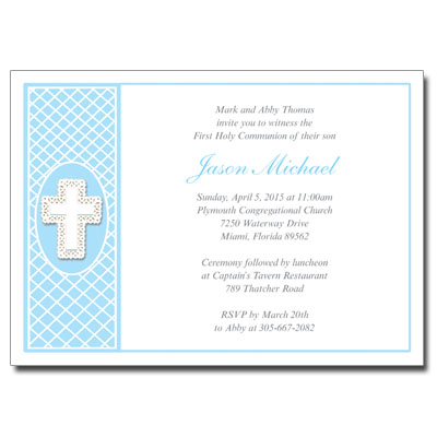 Lace Cross Blue Invitation