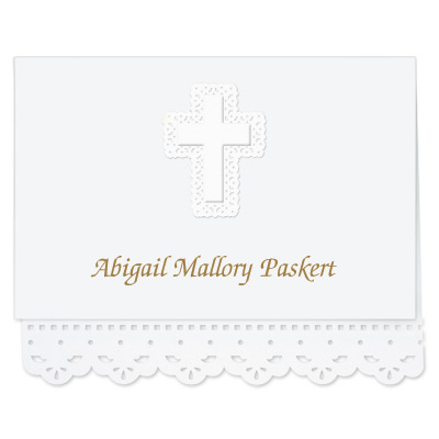 Lace Cut Note Card with Cross