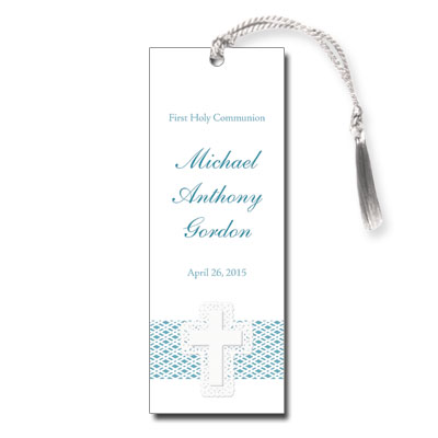 Lattice Cross Blue First Communion Bookmark