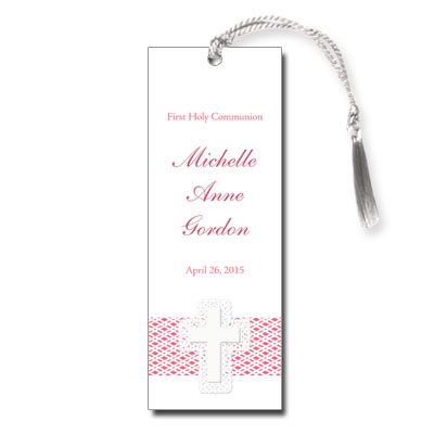 Lattice Cross Pink First Communion Bookmark