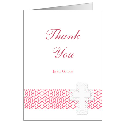Lattice Cross First Communion Thank You Card - Pink