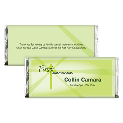 Lightbeams Green First Communion Candy Wrapper