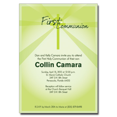 Lightbeams Green Invitation