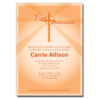 Lightbeams Orange First Communion Invitation