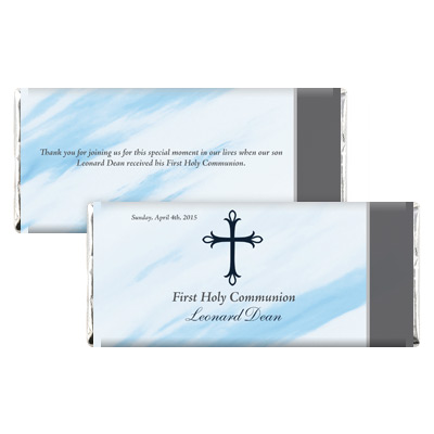 Marbled Blue First Communion Candy Wrapper