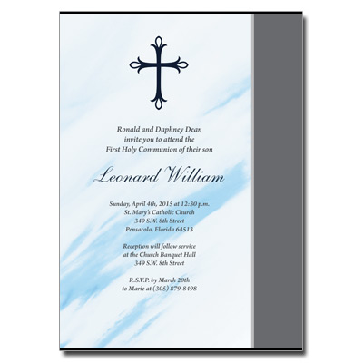 Marbled Blue First Communion Invitation