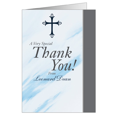 Marbled Blue First Communion Thank You Card