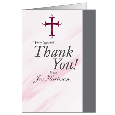 Marbled Pink First Communion Thank You Card