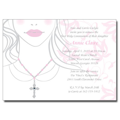 Cross & Jewel Necklace Invitation