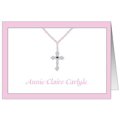 Cross & Jewel Necklace First Communion Thank You Card
