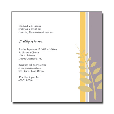 Olive Branch First Communion Invitation