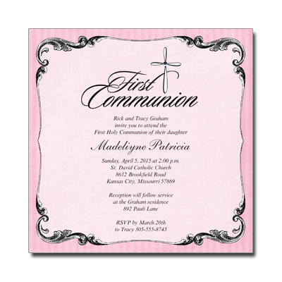 Ornate Jewel Cross Pink Invitation
