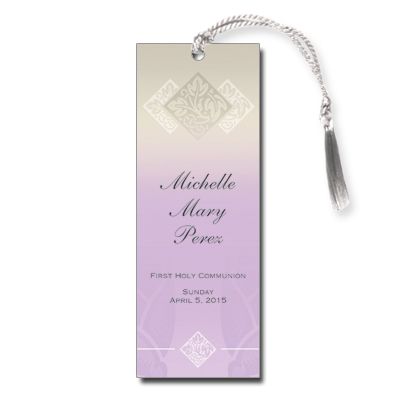 Pastel Girl Cross First Communion Bookmark
