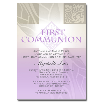 Pastel Girl Cross Invitation