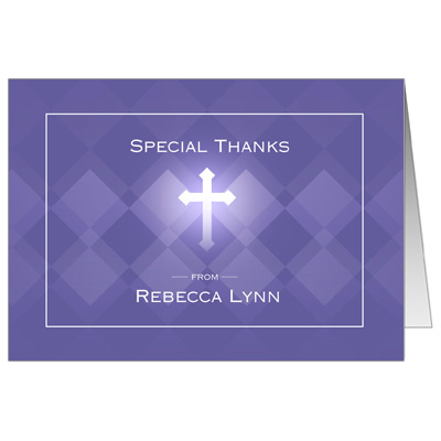 Purple Argyle First Communion Thank You Card