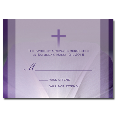 Purple Flower First Communion Response Card
