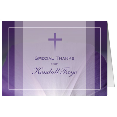 Purple Flower First Communion Thank You Card