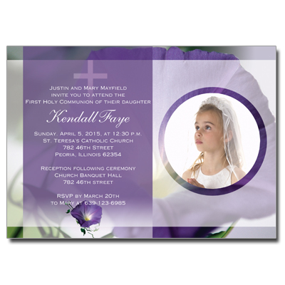 Purple Flower First Communion Invitation