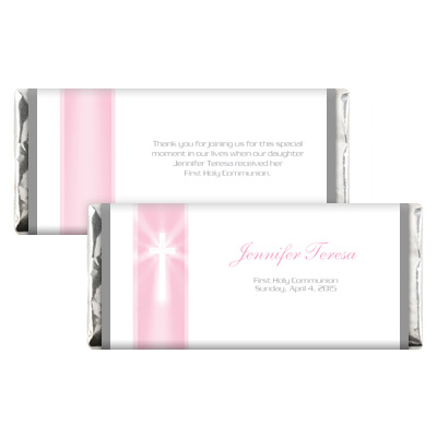 Pink Rays Jeweled First Communion Candy Wrapper