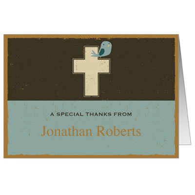 Retro Cross First Communion Thank You Card