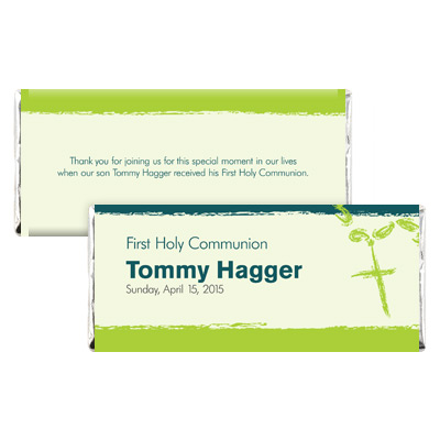 Rosary Beads Green First Communion Candy Wrapper