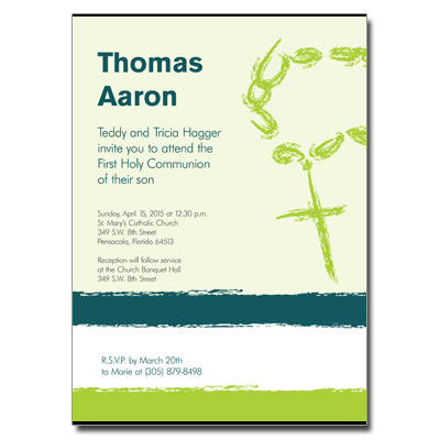 Rosary Beads Green First Communion Invitation