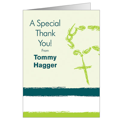 Rosary Beads First Communion Thank You Card - Green