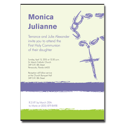 Rosary Beads Lavender First Communion Invitation