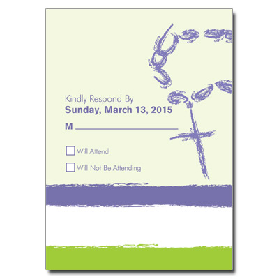 Rosary Beads Lavender First Communion Response Card