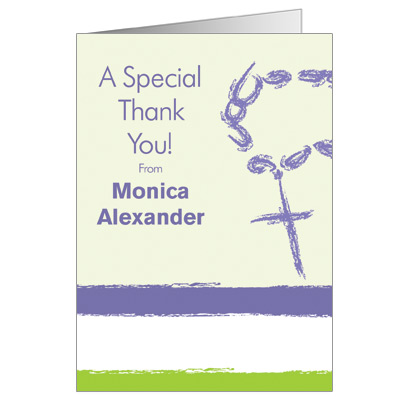 Rosary Beads First Communion Thank You Card - Lavender