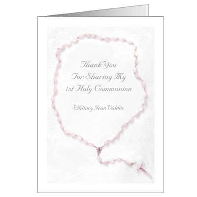 Holy Rosary First Communion Thank You Card