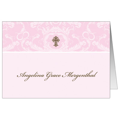 Pink Toile First Communion Thank You Card