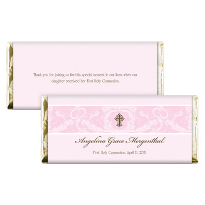 Pink Toile First Communion Candy Wrapper