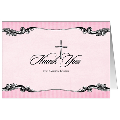 Ornate Jewel Cross Pink First Communion Thank You Card